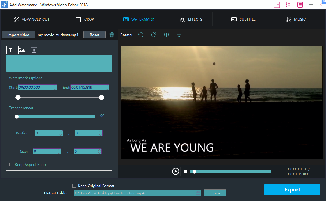 How to add watermark to ts   Windows Video Editor Tool